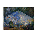 Handmade The Saint Lazare Station 2 Painting  by Claude Monet Stretched Ready to Hang (0192-YCF103524)