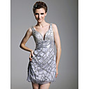 Sheath/ Column V-neck Short/ Mini Sleeveless Chiffon Elastic Woven Satin Cocktail Dress