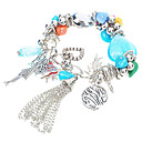 Chunky Designer Multigem with Murano Glass German Silver Bracelet-Blue(0975-V1003096)