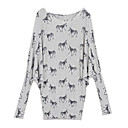 Zebra Patterns Slit Neck Long Sleeves Longline Sweater / Women's Sweaters (FF-B-BI0857109)