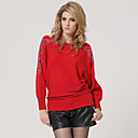 Red Shoulder Beaded Long Sleeves Slit Neckline Longline Sweater / Women's Sweaters (FF-Y-BI1088001)
