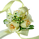Elegant Ivory Silk Rose With Chiffon Decoration Wedding/ Bridal Wrist Flower