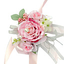 Elegant Pink Silk Rose With Chiffon Decoration Wedding/ Bridal Wrist Flower