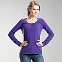Gathered Round Neckline Long Sleeves Cashmere Sweater / Women's Cashmere Sweaters (FF-C-Bl0681016)