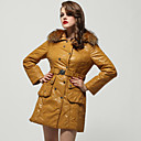 Mustard Rabbit Hair Collar Long Sleeves With Belt Coat / Women's Outerwears (FF-A-BK0997013)