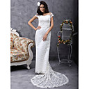 Sheath/Column Off-the-shoulder Court Train Lace Satin Wedding Dress