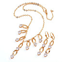 Fashion CZ And Brass With 18K Gold Plated Jewelry Set, Including Necklace, Earrings(0801-HY01205-18)