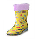 Rubber Upper Flat Heel Kids Mid-calf Rain Boots With Car Print Outdoor Shoes