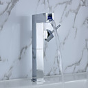 Color Changing LED Waterfall Bathroom Sink Faucet (Tall)