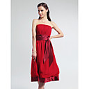 A-line Strapless Empire Knee-length Chiffon Bridesmaid Dress