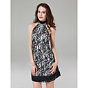 Sheath/ Column High Neck Short/ Mini Lace Cocktail Dress