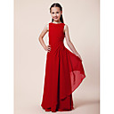 Sheath/Column Bateau Floor-length Chiffon Junior Bridesmaid Dress