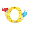 Colorful Sync and Charge Cable for iPad and iPhone (Yellow/100cm Length)