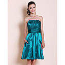 A-line Strapless Knee-length Elastic Silk-like Satin Bridesmaid Dress