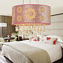 Pink Crystal Drop 4-Light Pendant Light with Floral Pattern Pleuche Lamp