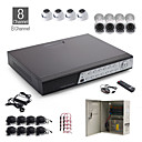 Kit di 8 canali cctv + 4 pezzi bianco telecamera dome + 4 pezzi fotocamera impermeabile bianco + 1000 GB HDD