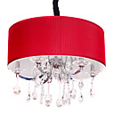 Crystal ball Drop 6-Light Pendant Light with Red Cylinder Lamp