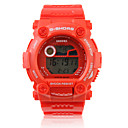 Waterproof Sporty Single Movement Digital Stop Automatic Watch with Night Light - Red
