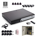 8 canali all-in-one kit cctv + 4 pezzi 24led telecamera a cupola nera + 4 pezzi 36led fotocamera nero all'aperto + 1000 GB HDD