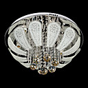 Stainless Steel  7-Light Round Flush Mount Floral Featured with Crystal Drops