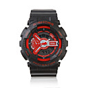 Waterproof Sporty Double Movement Digital Stop Watch with Night Light - Red