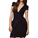 Empire Waist Deep V Neckline Short sleeves Dress / Women's Dresses (FF-1801BF008-0853)