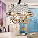 Luxury Golden Crystal Drop 4-Light Pendant Light with Pleuche Lamp