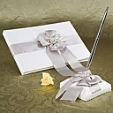 White Wedding Guest Book and Pen Set With Silver Pearl and Bow