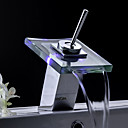 Color Changing LED Waterfall Bathroom Sink Faucet (Glass Spout)