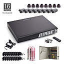 16ch cctv kit + 8st 15m zwart dome camera + 8st 25 zwarte camera + 1TB hdd
