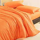 Solid Reactive Dyed 4-piece King-size Duvet Cover Set (Orange)