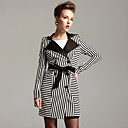 TS Black and White Stripe Trench Coat