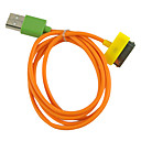 Sync and Charging Cable for iPhone, iPad and iPod Touch (100cm/Orange Cable with Colorful Connectors)