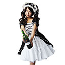 Kurzarm knielangen schwarzen weien Gothic Lolita Kleid