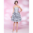 A-line Strapless Knee-length Tiered Organza Cocktail Dress
