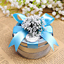Clear Top Round Favor Tin With Blue Bow (Set of 6)