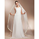 Gorgeous One-tier Cathedral Wedding Veils With Lace Applique Edge