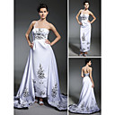 Sheath/Column Strapless Ankle-length Court Train Wedding Dress inspired by Audrey Hepburn