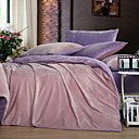 3PCS Solid Pink Duvet Cover Set