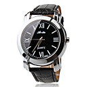 Roman Numerals Black Band PU Quartz Wrist Watch For Men