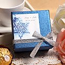 Personalized Blue Favor Box With Silver Bow (Set of 24)