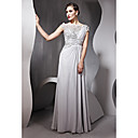 Sheath/ Column Bateau Floor-length Chiffon With Lace/ Beading Evening Dress