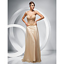 Sheath/ Column Straps Floor-length Stretch Satin Tulle Evening Dress