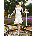Trumpet/Mermaid Strapless Knee-length Satin Lace Wedding Dress