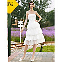 A-line Strapless Knee-length Taffeta Lace Tiered Wedding Dress