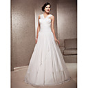 A-line V-neck Floor-length Chiffon Satin Wedding Dress
