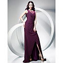 Sheath/Column Jewel Neck Chiffon Over Lace Evening Dress With Sweep/Brush Train
