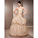 A-line Strapless Neckline Floor-length Taffeta  Wedding Dress