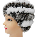 High Quality 100% Handmade Gray And White Rex Rabbit Fur Hat