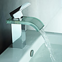 Modern Waterfall Bathroom Sink Faucet with Glass Spout(Chrome Finish)